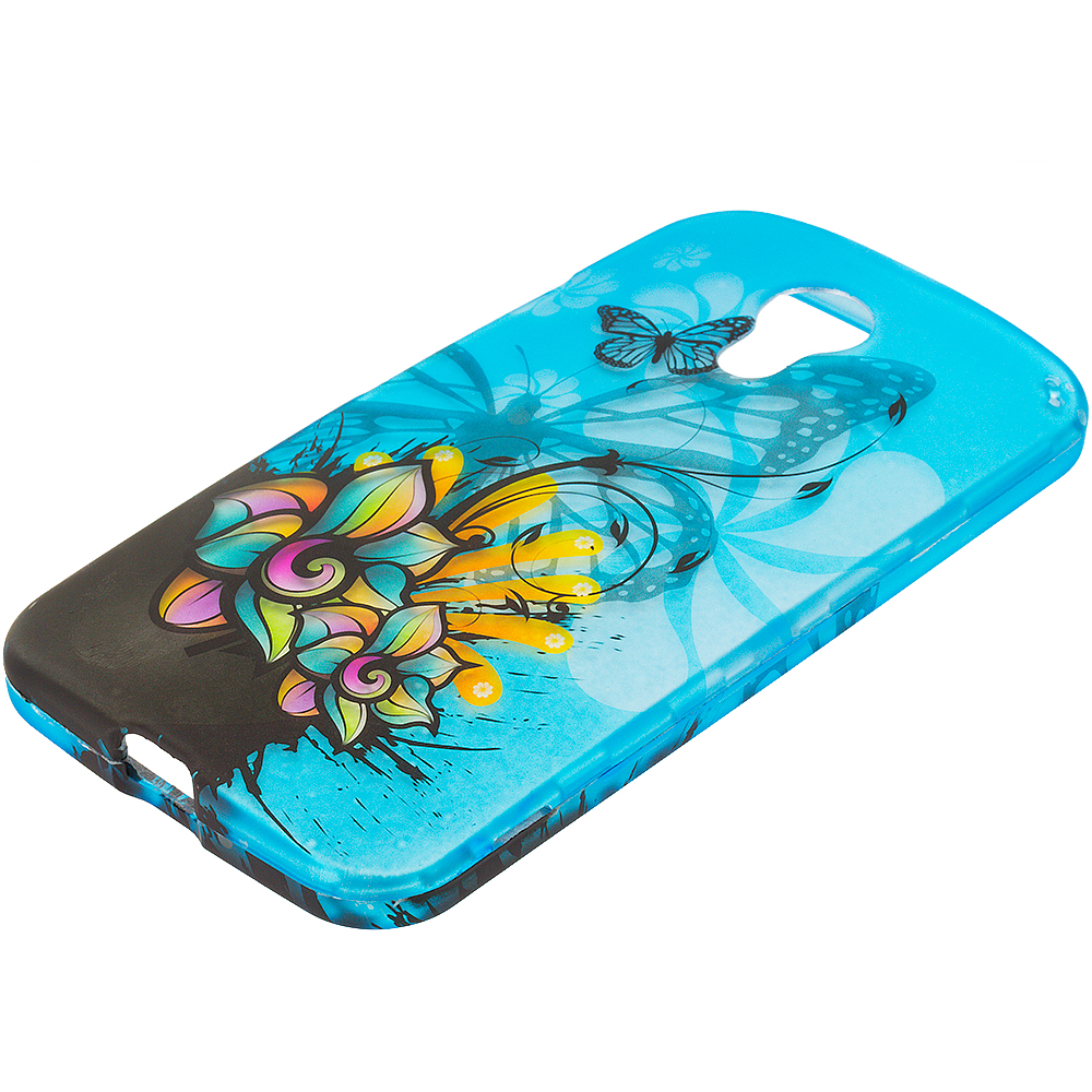 Motorola Moto G 2nd Gen 2014 Butterfly Flower on Blue 2D Hard Rubberized Design Case Cover