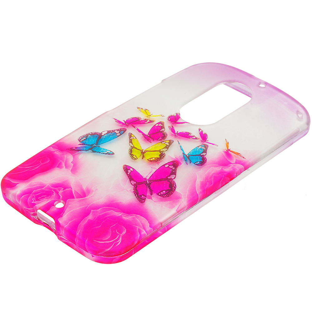 Motorola Moto X 2nd Gen Pink Colorful Butterfly 2D Hard Rubberized Design Case Cover
