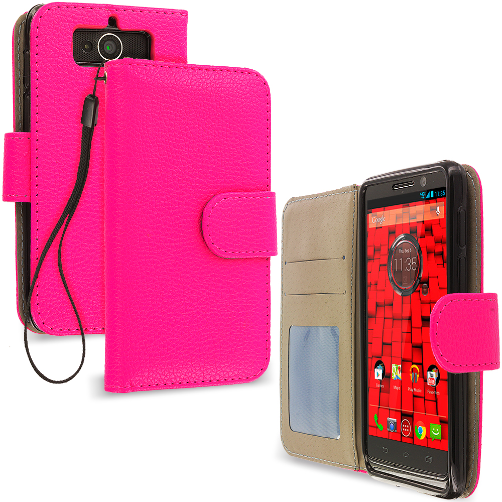 Motorola Droid Mini XT1030 Hot Pink Leather Wallet Pouch Case Cover with Slots