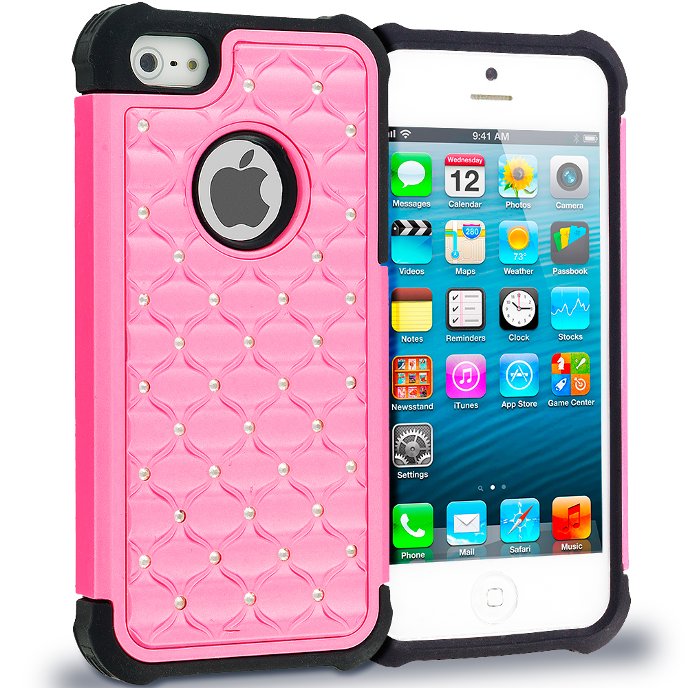 Apple iPhone 5/5S/SE Black / Light Pink Hard Rubberized Diamond Case Cover