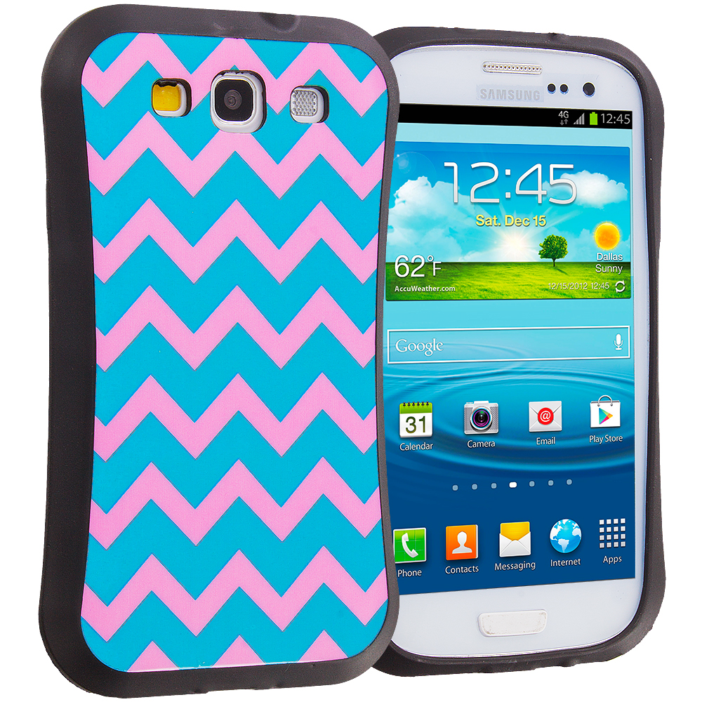 Samsung Galaxy S3 Pink Wave Hybrid TPU Hard Soft Shockproof Drop Proof Case Cover
