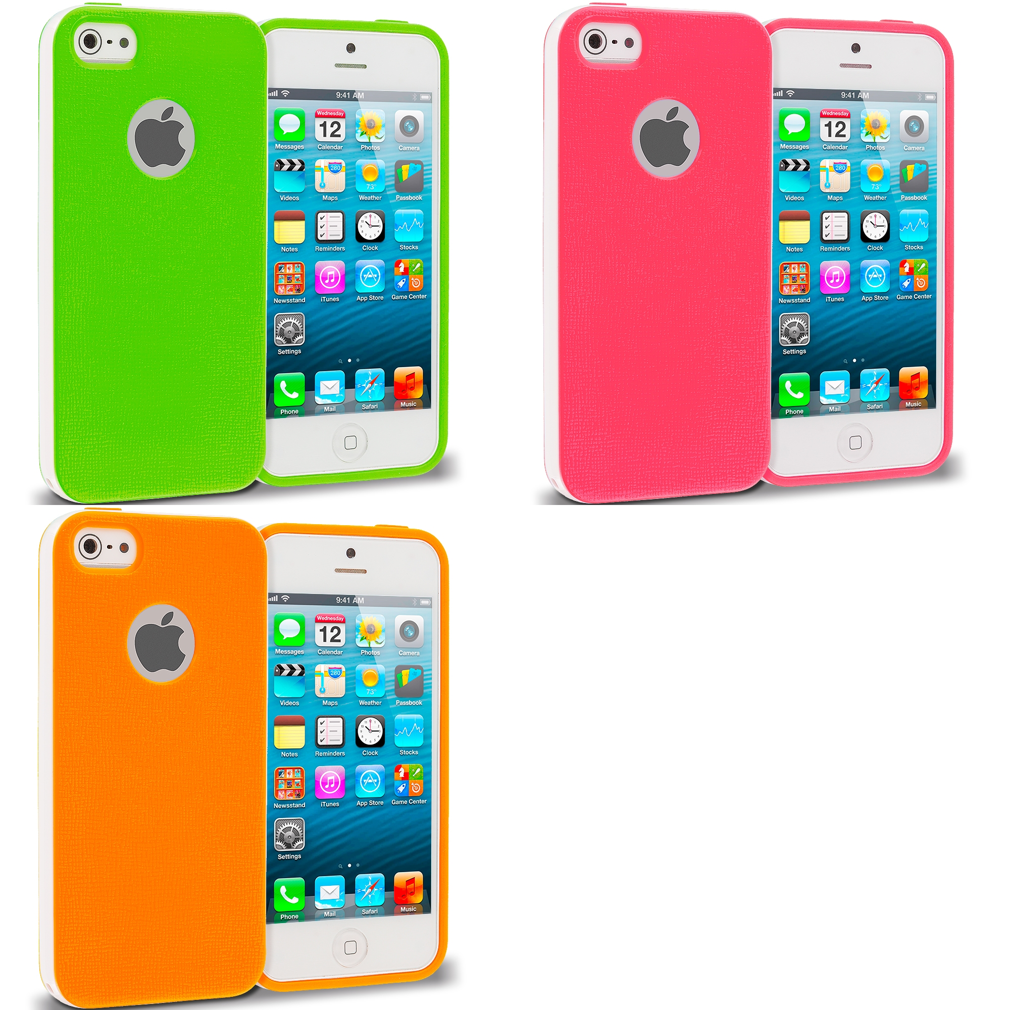 Apple iPhone 5/5S/SE Combo Pack : Green Hybrid TPU Bumper Case Cover