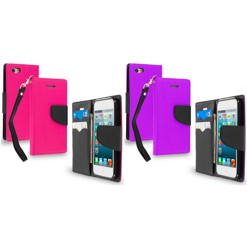 Apple iPod Touch 5th 6th Generation 2 in 1 Combo Bundle Pack - Hot Pink / Purple Leather Flip Wallet Pouch TPU Case Cover with ID Card Slots