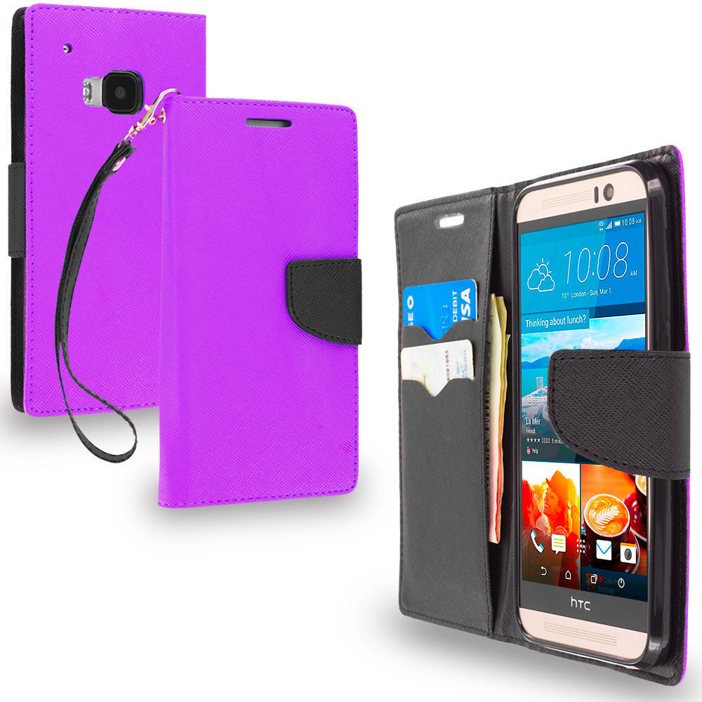 HTC One M9 Purple / Black Leather Flip Wallet Pouch TPU Case Cover with ID Card Slots