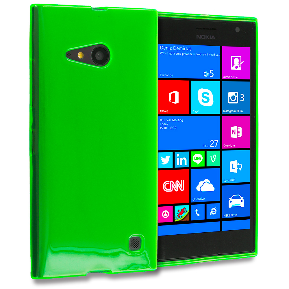 Nokia Lumia 730 735 Neon Green TPU Rubber Skin Case Cover