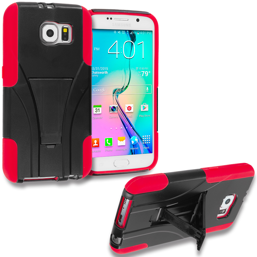 Samsung Galaxy S6 3 in 1 Combo Bundle Pack - Hybrid Hard Soft Shockproof Case Cover with Kickstand : Color Black / Red