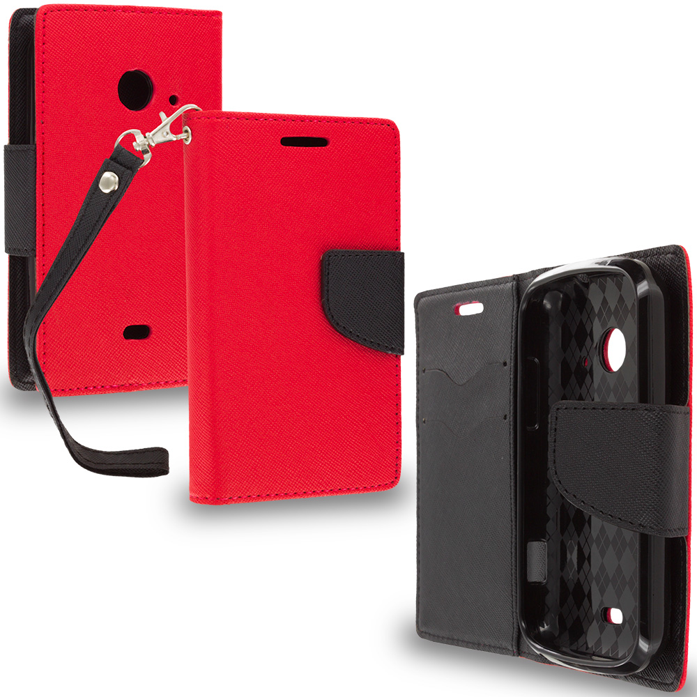 ZTE Zinger Prelude 2 Z667 Red / Black Leather Flip Wallet Pouch TPU Case Cover with ID Card Slots