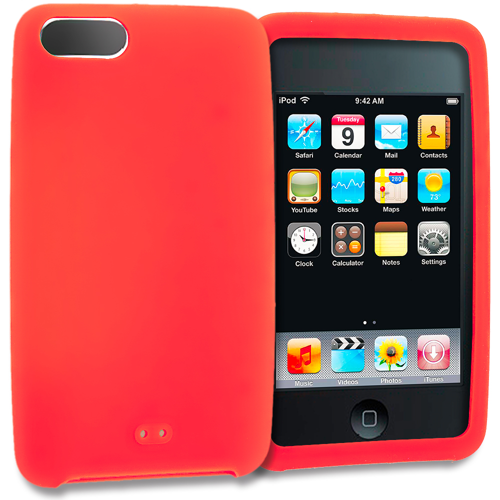 Apple iPod Touch 3rd 2nd Generation Orange Silicone Soft Skin Rubber Case Cover