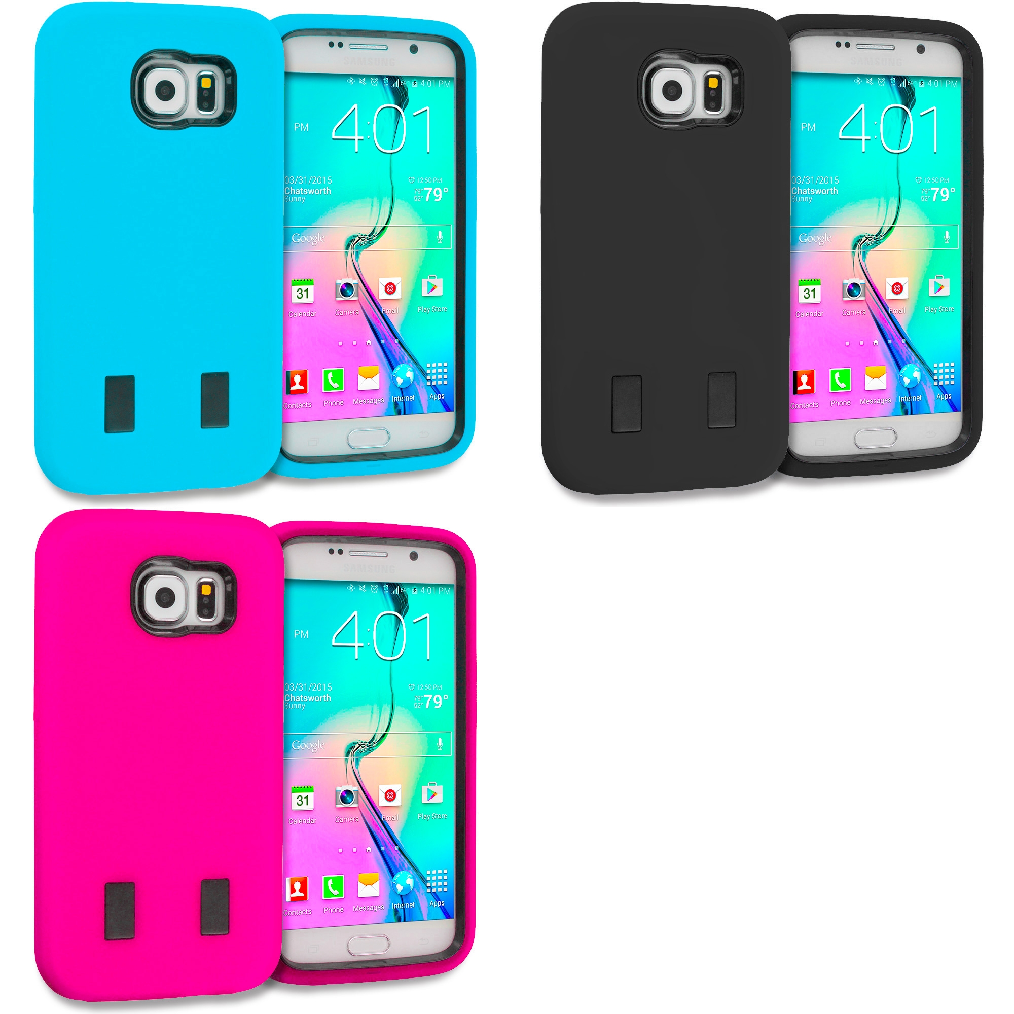 Samsung Galaxy S6 3 in 1 Combo Bundle Pack - Hybrid Deluxe Hard/Soft Case Cover