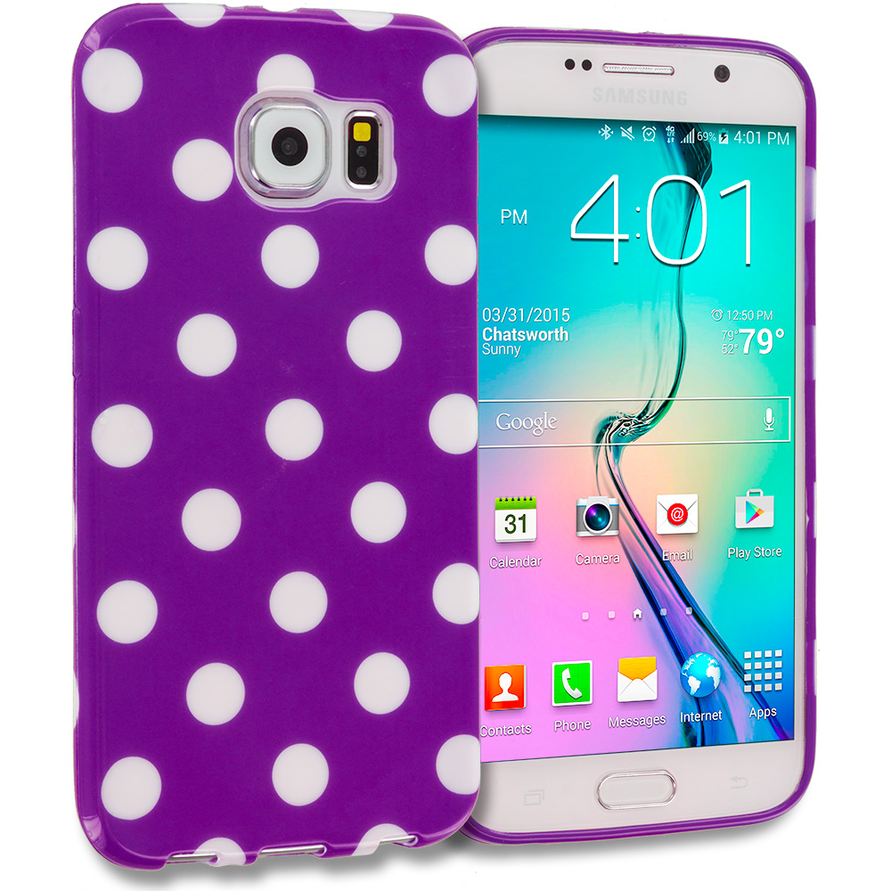 Samsung Galaxy S6 Purple / White TPU Polka Dot Skin Case Cover
