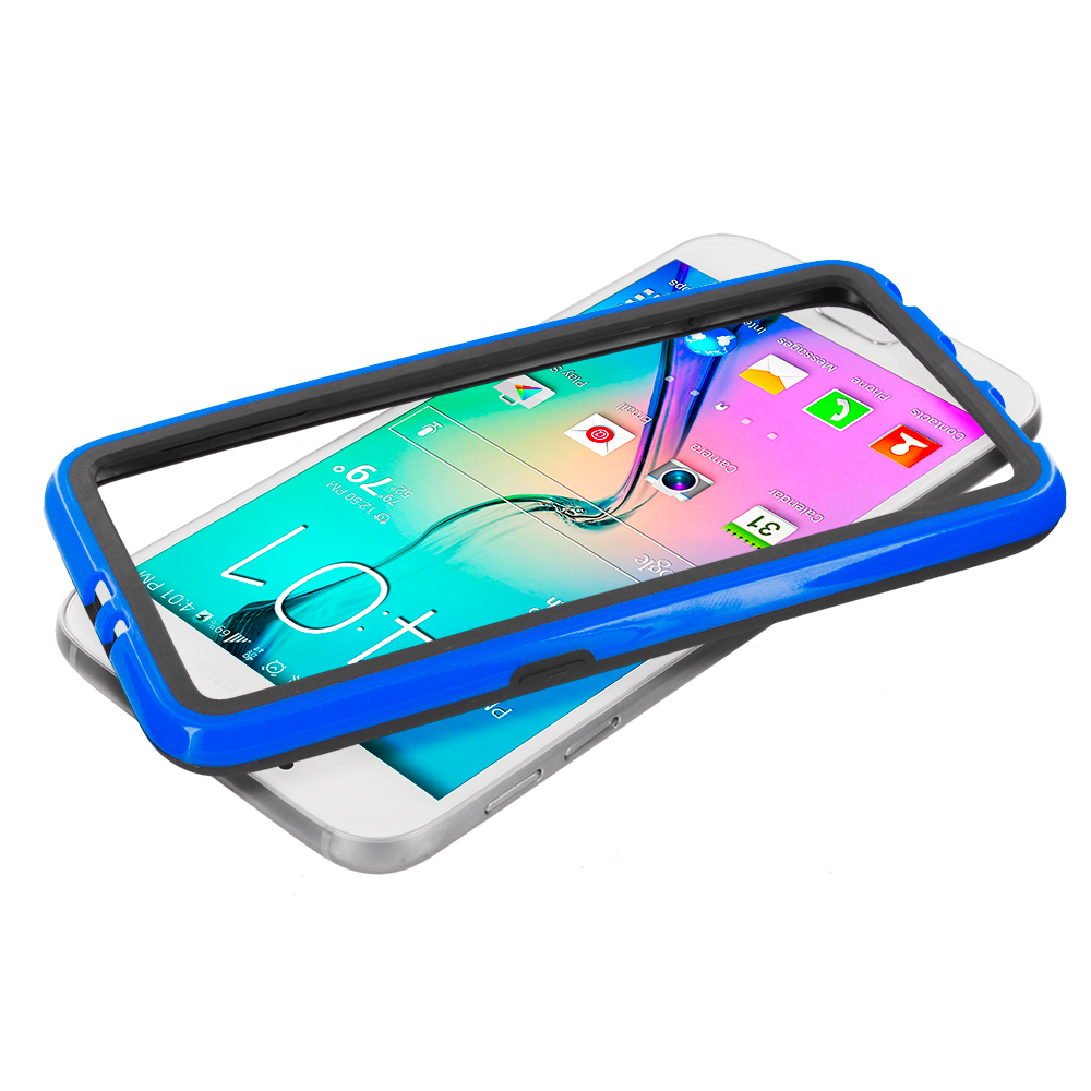 Samsung Galaxy S6 Combo Pack : Black / Red TPU Bumper Frame with Metal Buttons : Color Black / Blue