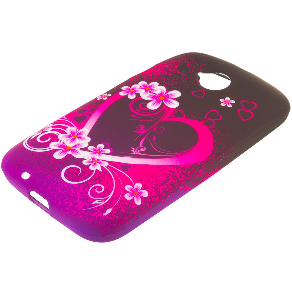 Motorola Moto E LTE 2nd Generation Purple Love TPU Design Soft Rubber Case Cover