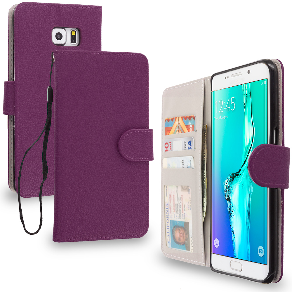 Samsung Galaxy S6 Edge Plus + Purple Leather Wallet Pouch Case Cover with Slots