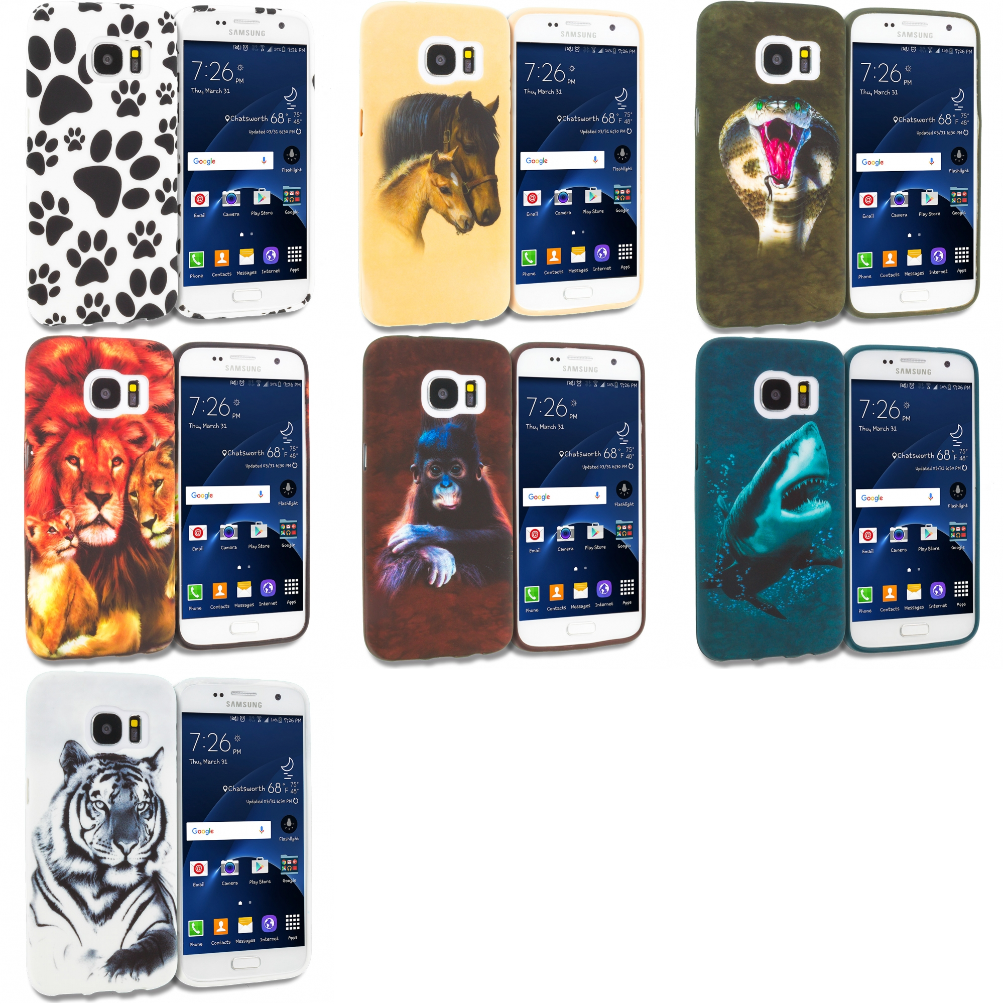 Samsung Galaxy S7 Combo Pack : Dog Paw TPU Design Soft Rubber Case Cover