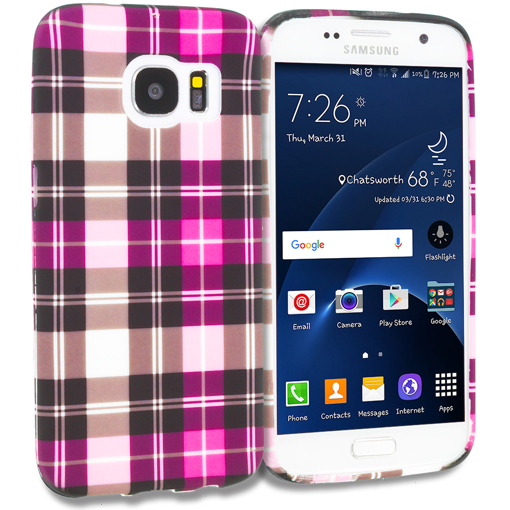 Samsung Galaxy S7 Combo Pack : Blue Checkered TPU Design Soft Rubber Case Cover : Color Hot Pink Checkered