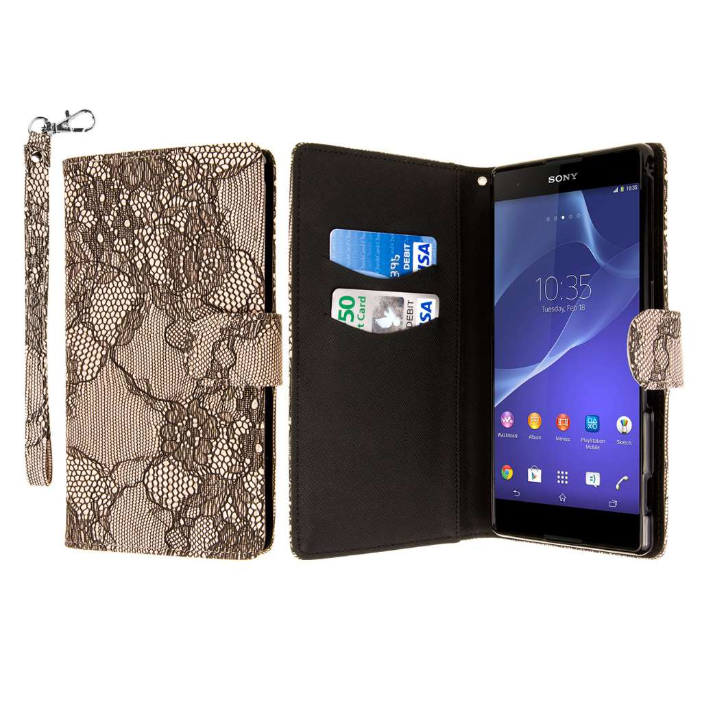 Sony Xperia T2 Ultra - Black Lace MPERO FLEX FLIP Wallet Case Cover