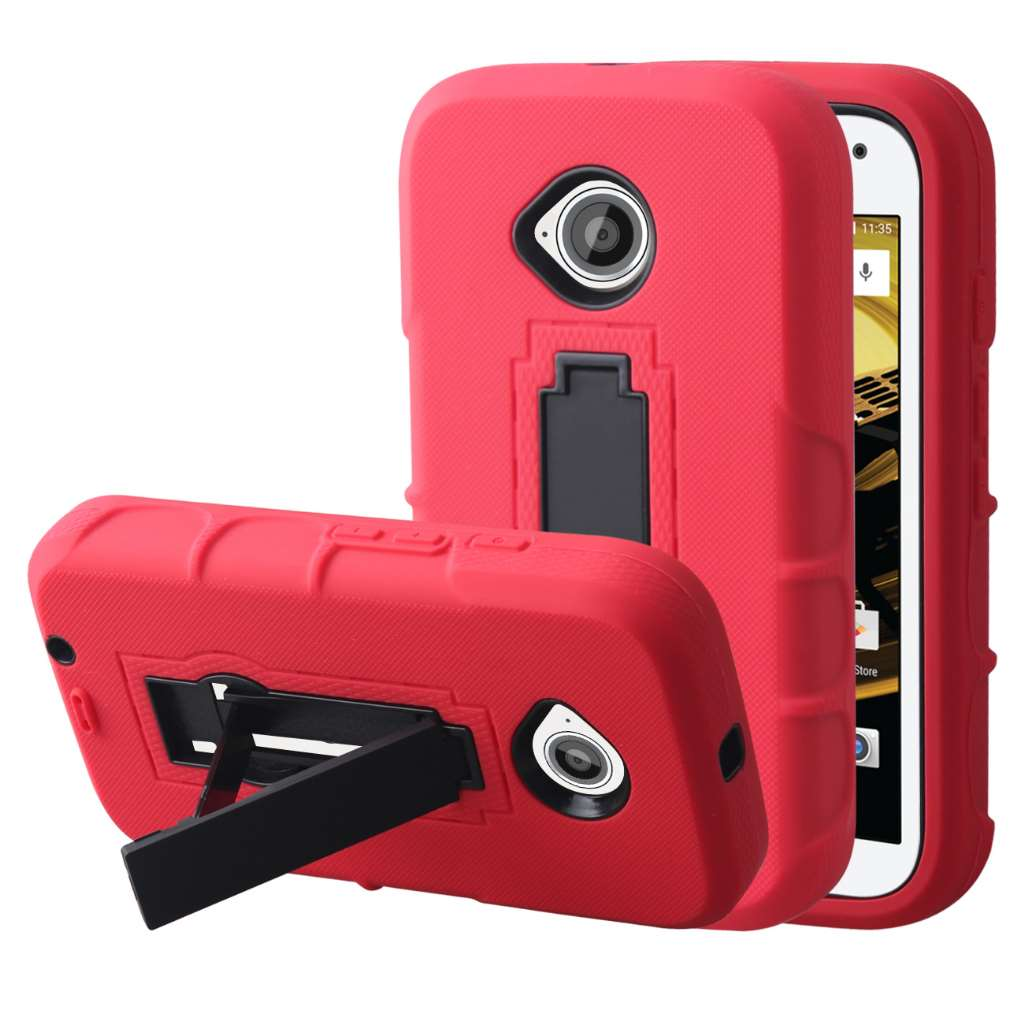 Motorola Moto E 2nd Generation - Red MPERO IMPACT XS - Kickstand Case Cover