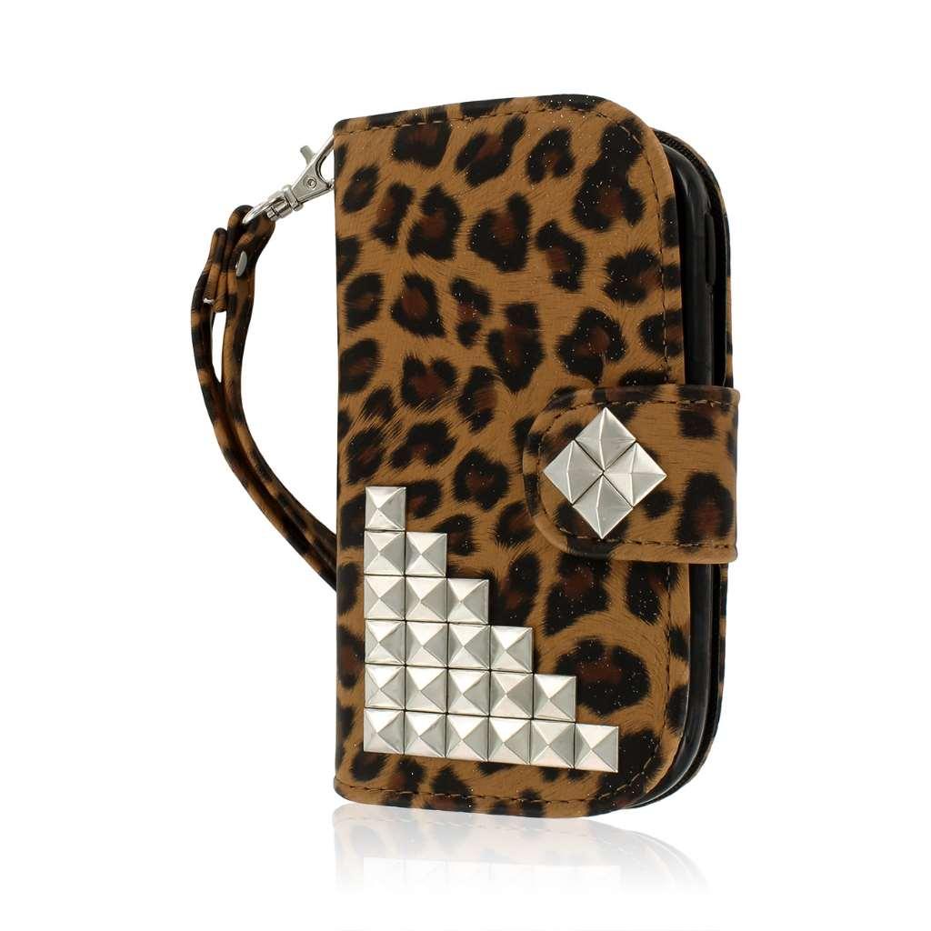 Samsung Galaxy Exhibit - Studded Leopard MPERO FLEX FLIP Wallet Case Cover