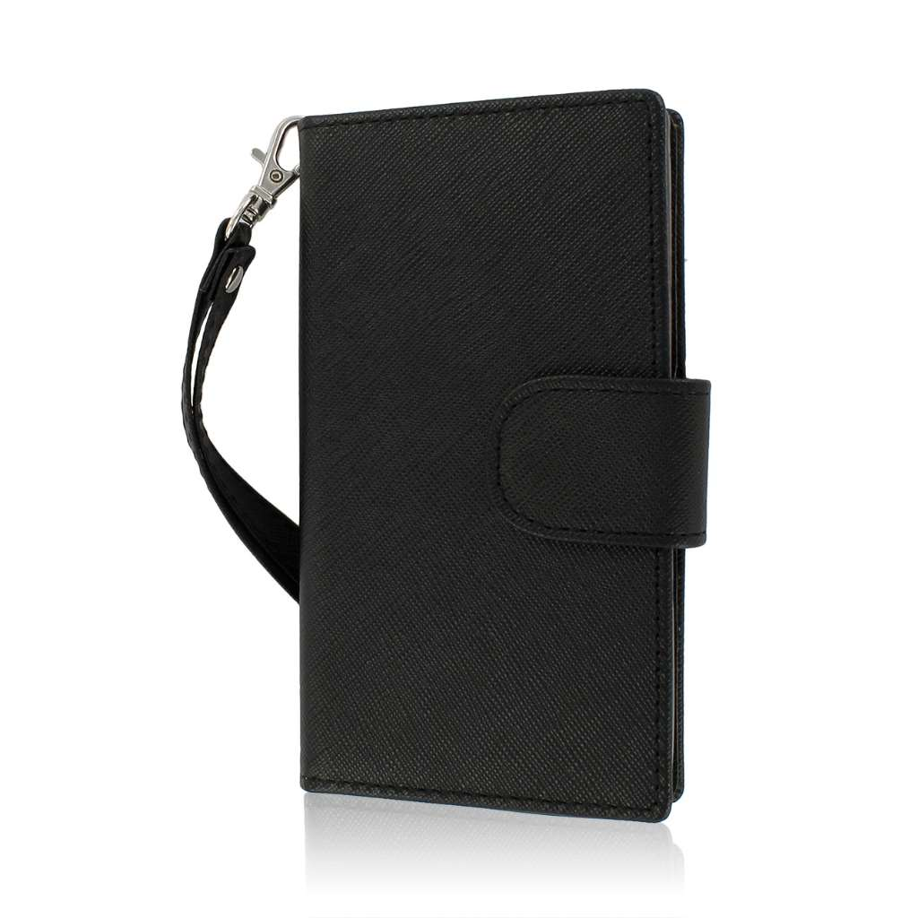 LG Splendor / Venice US730 - Black MPERO FLEX FLIP Wallet Case Cover