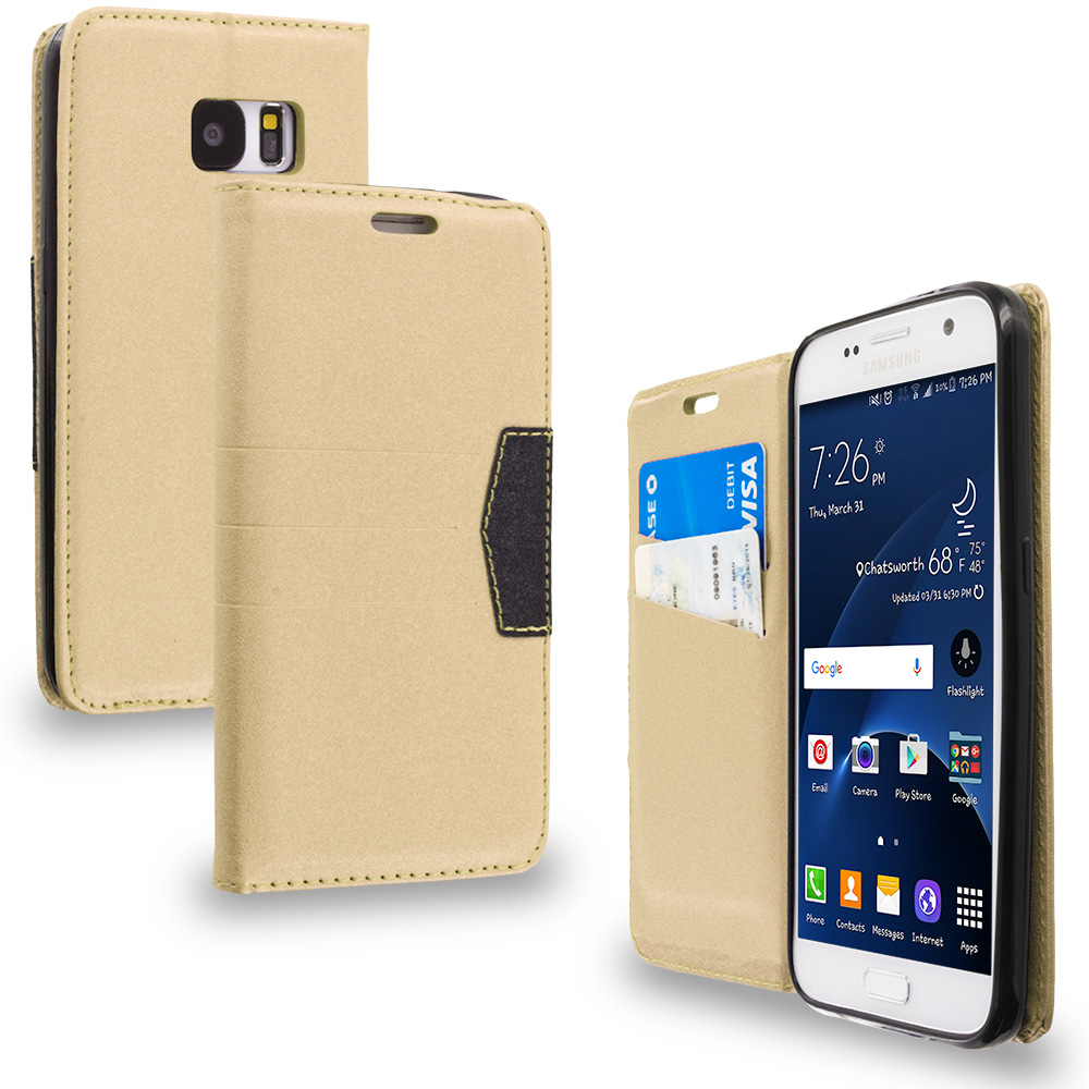 Samsung Galaxy S7 Combo Pack : Gold Wallet Flip Leather Pouch Case Cover with ID Card Slots : Color Gold