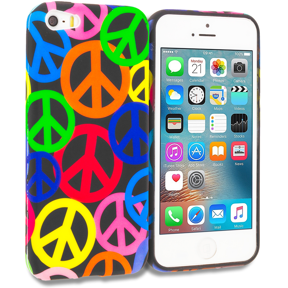 Apple iPhone 5/5S/SE Peace Sign TPU Design Soft Rubber Case Cover