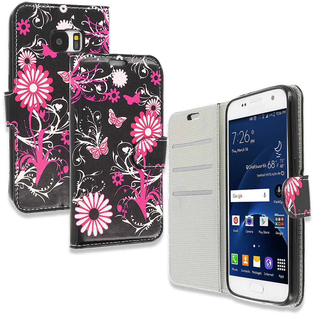 Samsung Galaxy S7 Pink Butterfly Flower Design Wallet Flip Pouch Case Cover with Credit Card ID Slots