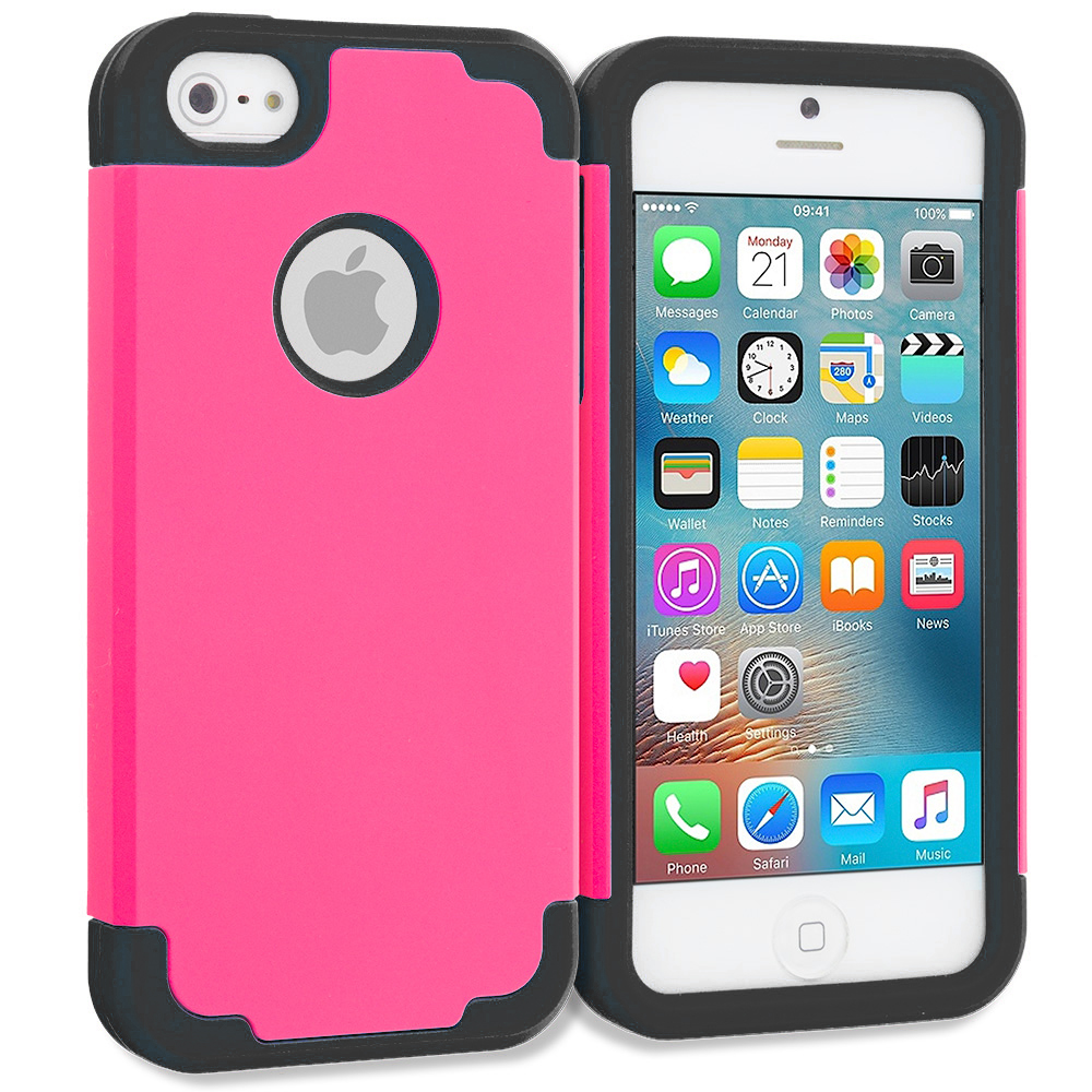 Apple iPhone 5/5S/SE Combo Pack : Blue / Black Hybrid Slim Hard Soft Rubber Impact Protector Case Cover : Color Hot Pink / Black