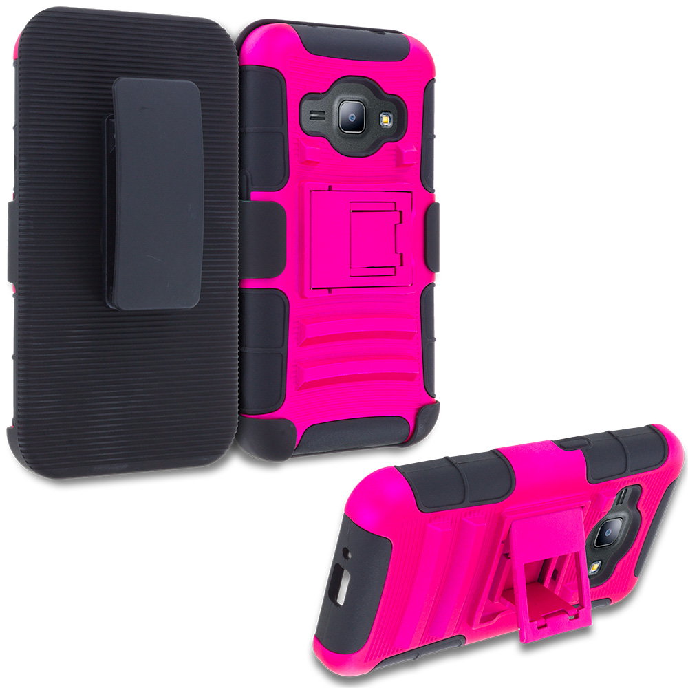For Samsung Galaxy J1 2016 / Amp 2 / Express 3 / Luna S120 Hot Pink Hybrid Heavy Duty Rugged Case Cover with Belt Clip Holster