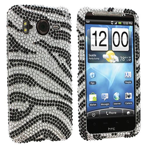HTC Inspire 4G Silver n Black Zebra Bling Rhinestone Case Cover