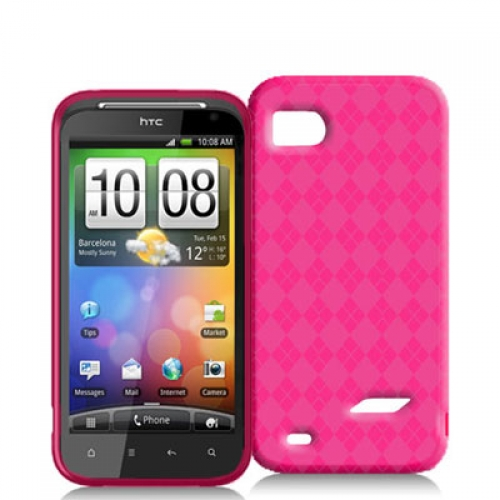 HTC Rezound 4G Hot Pink Checkered TPU Rubber Skin Case Cover