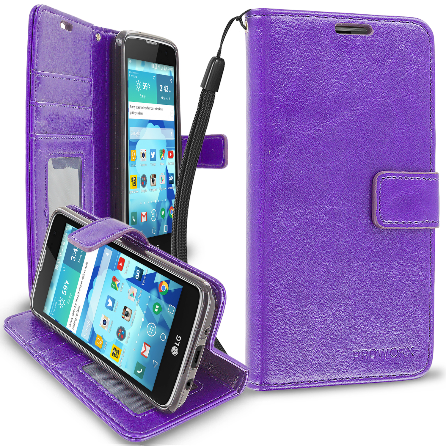 LG Tribute 5 K7 Phoenix 2 Escape 3 Treasure Purple ProWorx Wallet Case Luxury PU Leather Case Cover With Card Slots & Stand