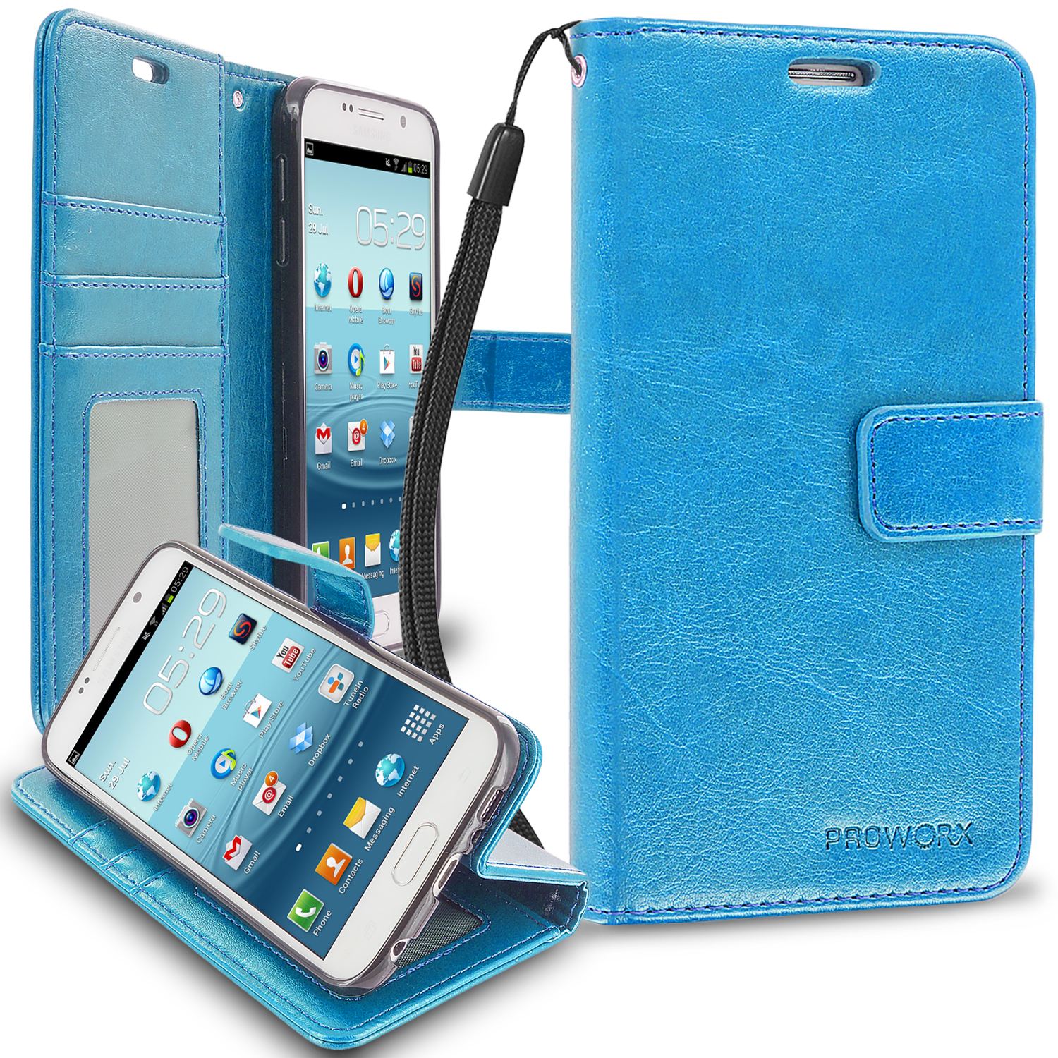 Samsung Galaxy S6 Baby Blue ProWorx Wallet Case Luxury PU Leather Case Cover With Card Slots & Stand