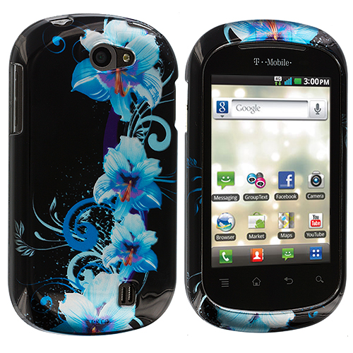 LG DoublePlay C729 / Flip II Blue Flowers Design Crystal Hard Case Cover