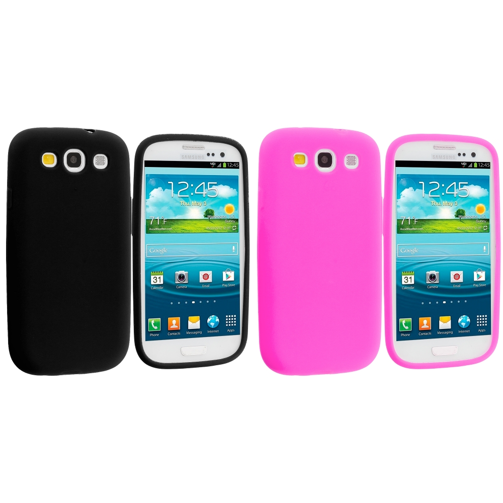 Samsung Galaxy S3 2 in 1 Combo Bundle Pack - Black Pink Silicone Soft Skin Case Cover