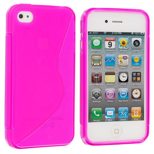 Apple iPhone 4 Hot Pink S-Line TPU Rubber Skin Case Cover