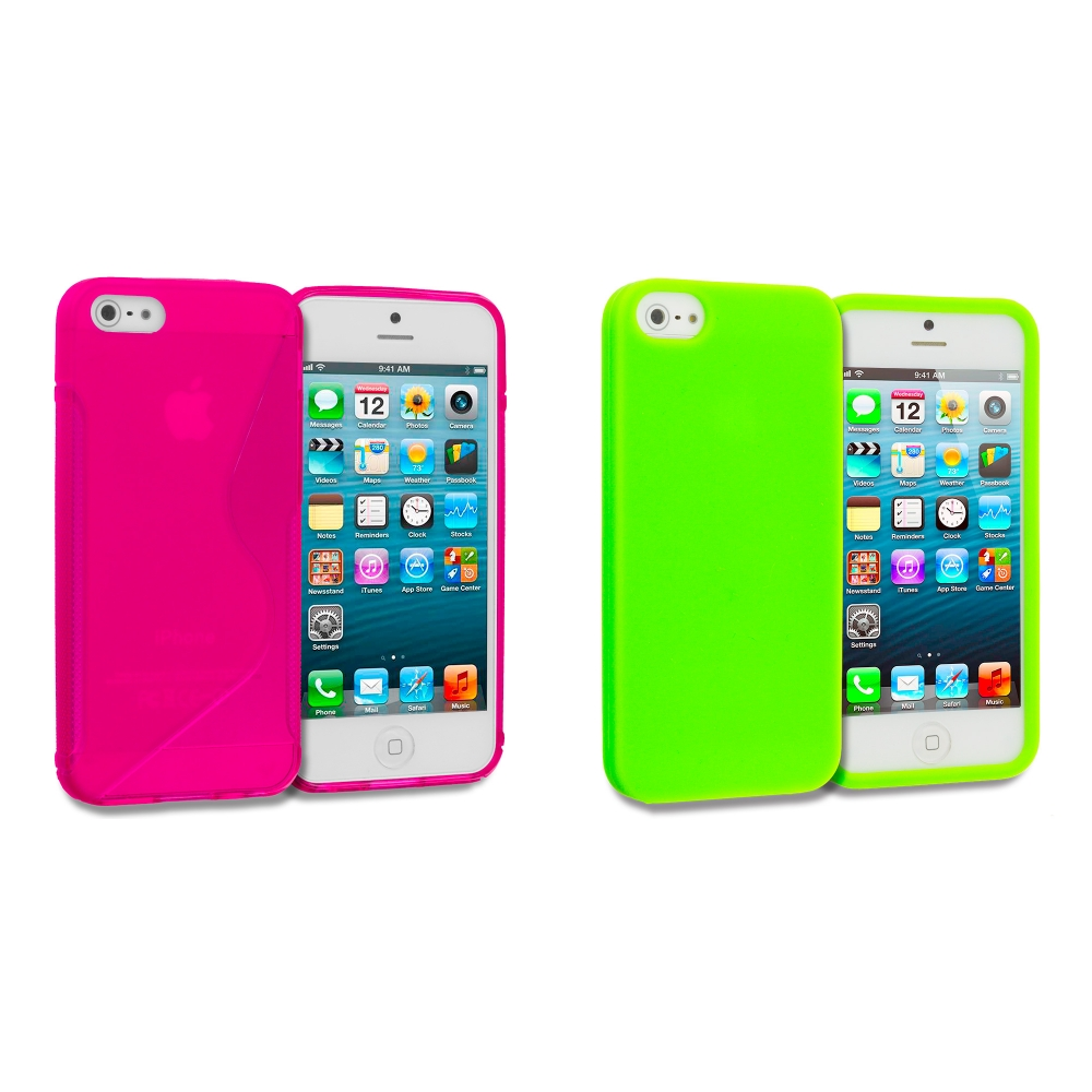 Apple iPhone 5/5S/SE 2 in 1 Combo Bundle Pack - Hot Pink Green S-Line TPU Rubber Skin Case Cover