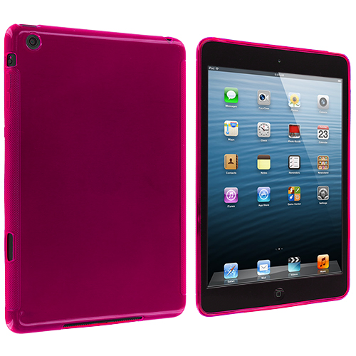 Apple iPad Mini Hot Pink Plain TPU Rubber Skin Case Cover