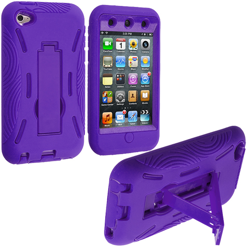 Apple iPod Touch 4th Generation Purple / Purple Hybrid Heavy Duty Hard/Soft Case Cover with Stand