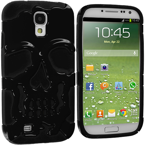 Samsung Galaxy S4 Black / Black Hybrid Skull Hard/Soft Case Cover