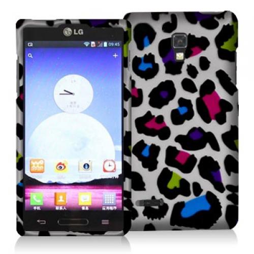 LG Optimus L9 P769 T-Mobile Colorful Leopard Hard Rubberized Design Case Cover