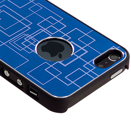 Apple iPhone 5/5S/SE Blue Metal Grid Aluminum Metal Hard Case Cover