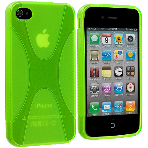 Apple iPhone 4 / 4S Neon Green X-Line TPU Rubber Skin Case Cover