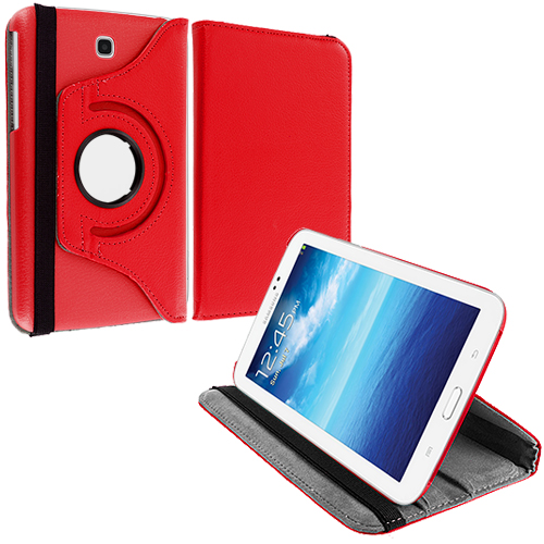 Samsung Galaxy Tab 3 7.0 Red 360 Rotating Leather Pouch Case Cover Stand