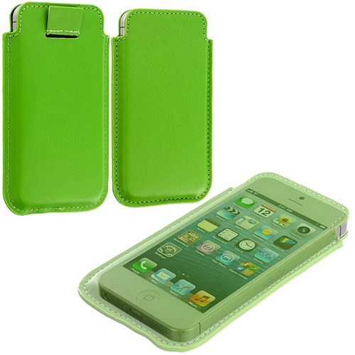 Apple iPhone 5/5S/SE Combo Pack : Baby Blue Sleeve Pouch : Color Neon Green
