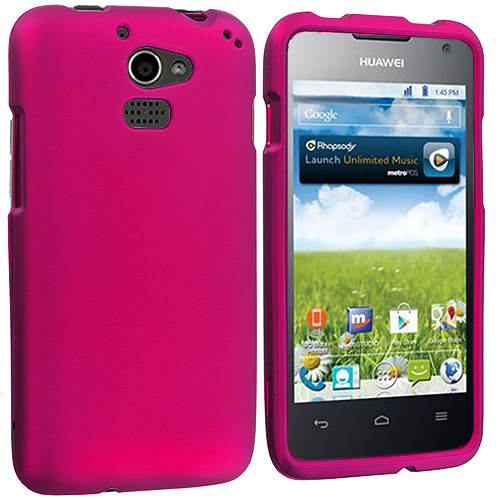 Huawei Premia 4G Hot Pink Hard Rubberized Case Cover