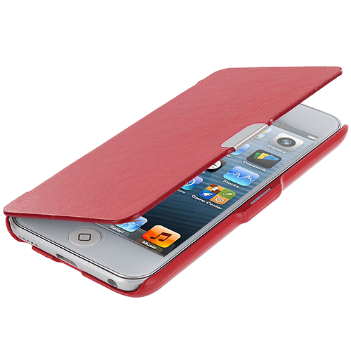 Apple iPod Touch 5th Generation 5G 5 Bundle Pack White Red Texture Magnetic Wallet Case Cover Pouch : Color Red Texture