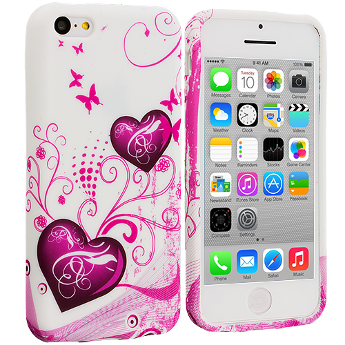 Apple iPhone 5C Pink Heart on White TPU Design Soft Case Cover