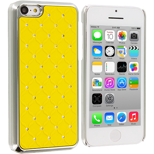 Apple iPhone 5C 2 in 1 Combo Bundle Pack - Yellow Red Hard Rubberized Diamond : Color Yellow