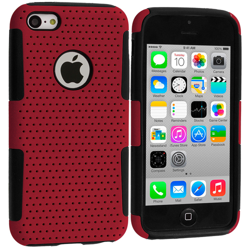 Apple iPhone 5C Black / Red Hybrid Mesh Hard/Soft Case Cover