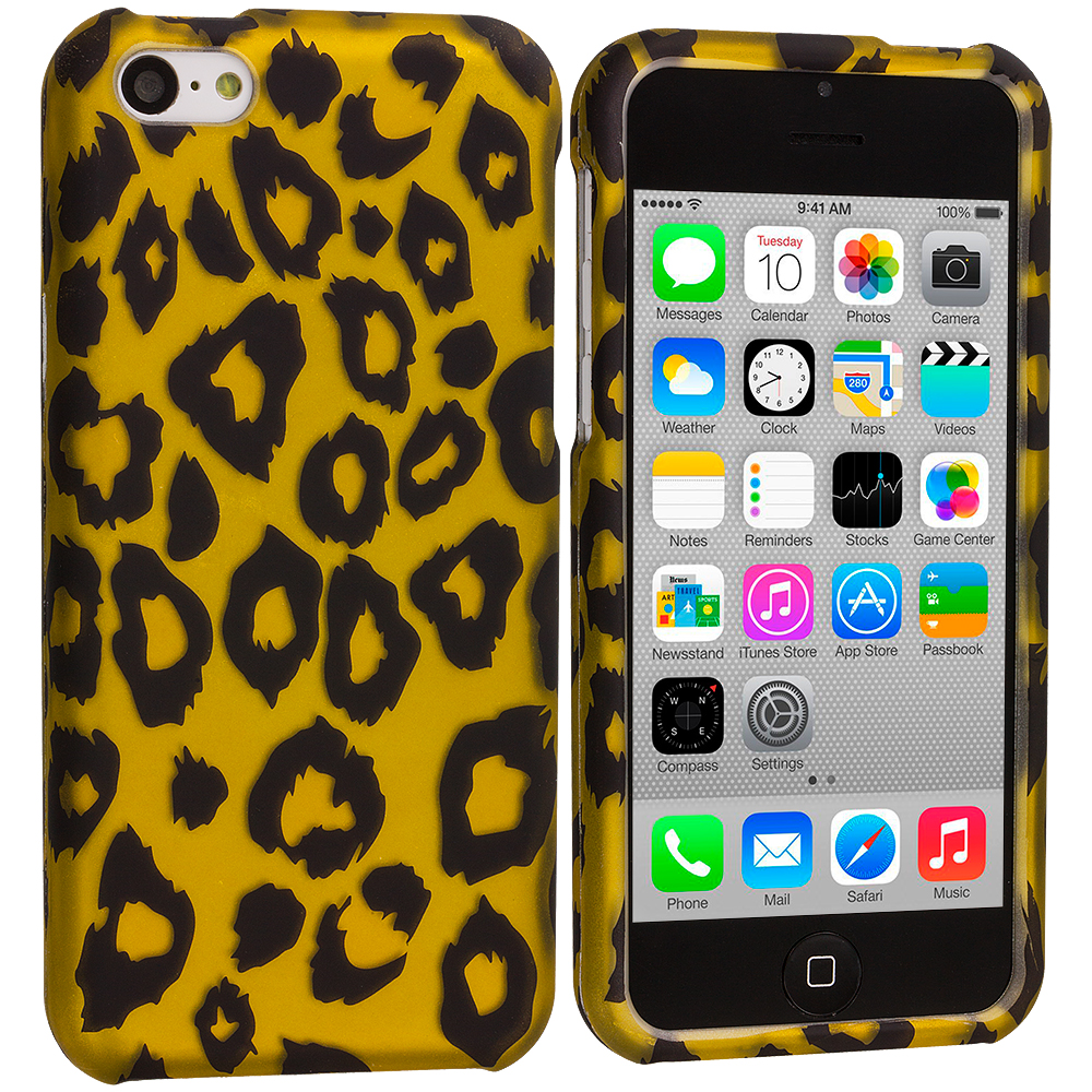 Apple iPhone 5C Black Leopard on Golden Hard Rubberized Design Case Cover